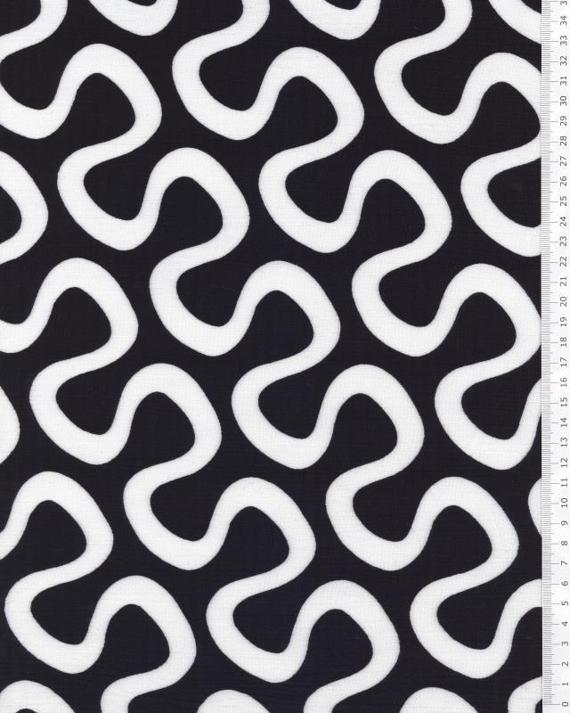 Viscose Serpentin Blanc / Noir - Tissushop