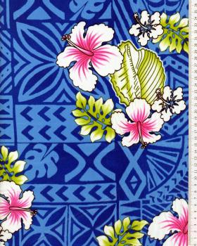 Tissu Polynésien HOANI Bleu - Tissushop