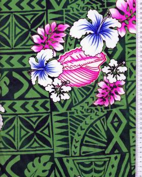 Tissu Polynésien HOANI Vert - Tissushop