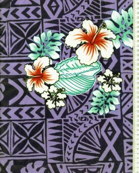 Tissu Polynésien HOANI Violet - Tissushop