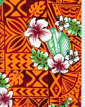 Polynesian Fabric HOANI Orange - Tissushop