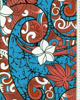 Tissu Polynésien AURERE Bleu - Tissushop