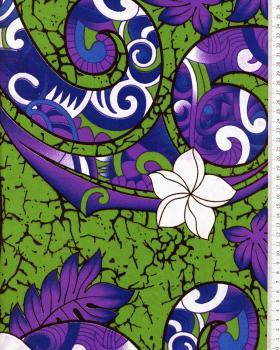Tissu Polynésien AURERE Vert - Tissushop