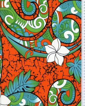 Tissu Polynésien AURERE Orange - Tissushop