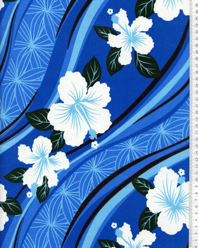 Tissu Polynésien VAIORA Bleu - Tissushop