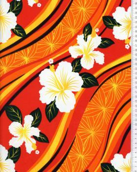 Tissu Polynésien VAIORA Orange - Tissushop