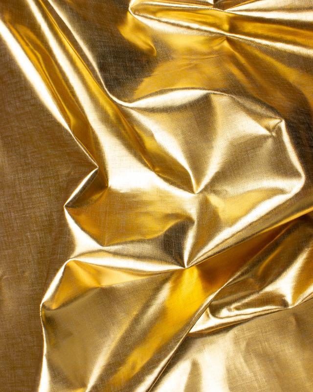 Metallic natural linen fabric Gold - Tissushop