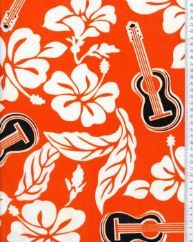 Tissu Polynésien TITA Orange - Tissushop