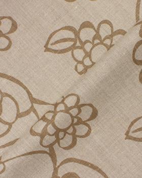 Melia printed linen canvas in 150 cm Beige - Tissushop