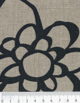 Melia printed linen canvas in 150 cm Black - Tissushop