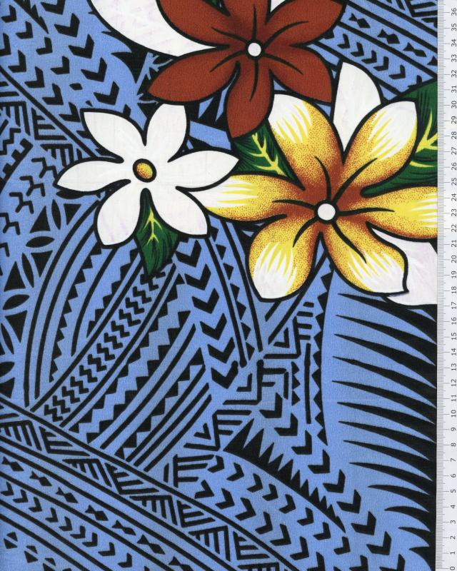 Polynesian Fabric ATAMU Blue - Tissushop
