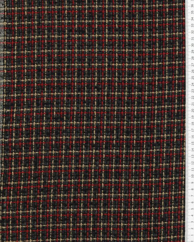 Tweed with squares Red - Tissushop
