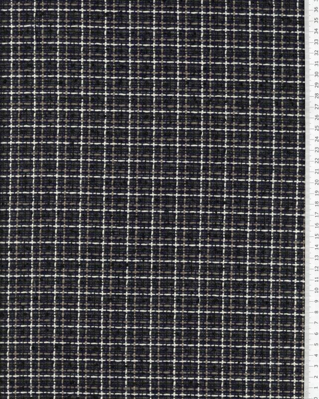 Tweed à carreaux Bleu Marine - Tissushop