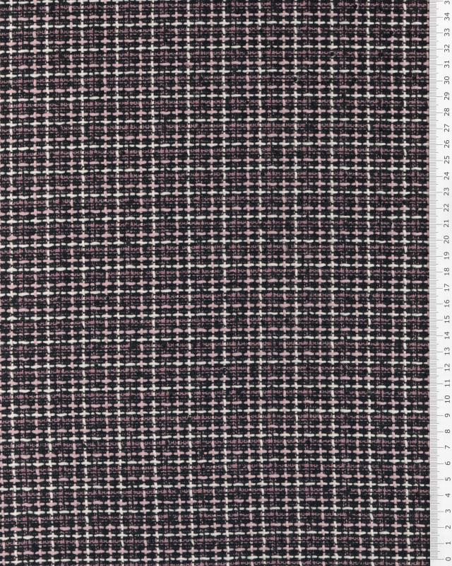 Tweed with squares Pink - Tissushop