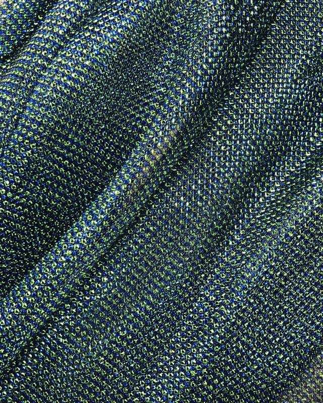 Lurex Metallic Mesh 2 Tones Black / Blue - Tissushop