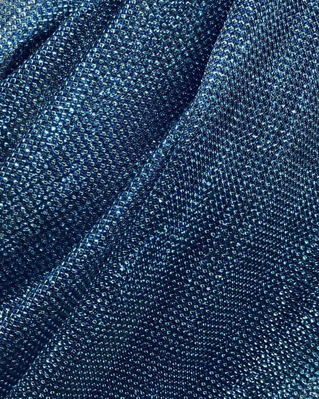 Lurex Metallic Mesh 2 Tones Black / Turquoise Blue - Tissushop