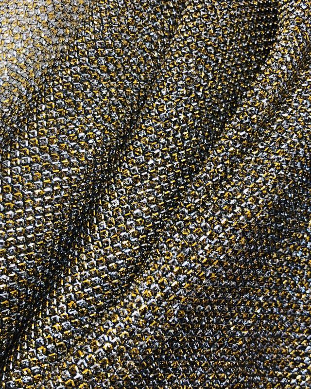 Lurex Metallic Mesh 2 Tones Black / Silvery - Tissushop