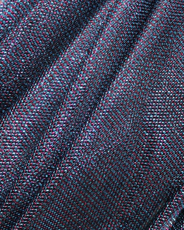 Lurex Metallic Mesh 2 Tones Black / Strawberry - Tissushop