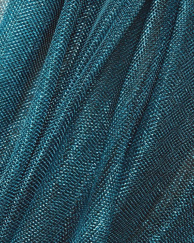 Lurex Metallic Mesh 1 Tone Blue Lagon - Tissushop