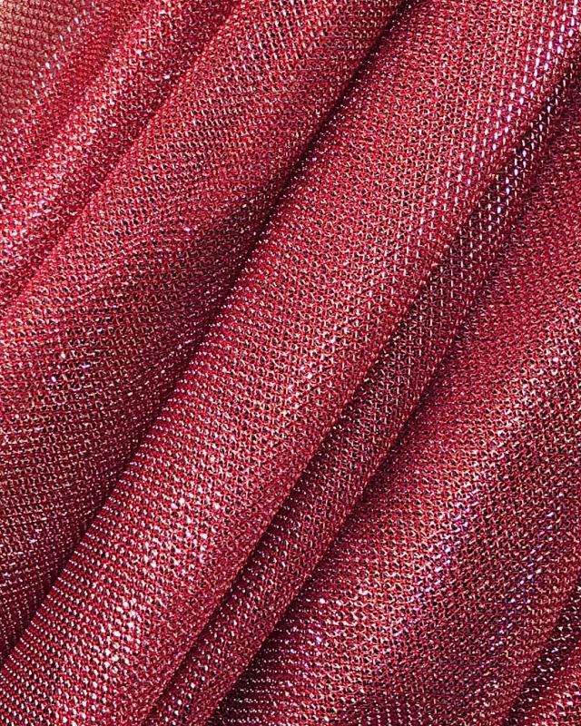 Lurex Metallic Mesh 1 Tone Firebrick - Tissushop