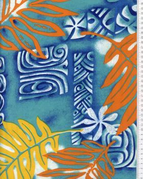 Tissu Polynésien VETEA Bleu Turquoise - Tissushop