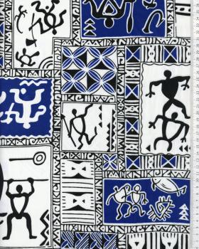 Tissu Polynésien TTTAUA Bleu - Tissushop