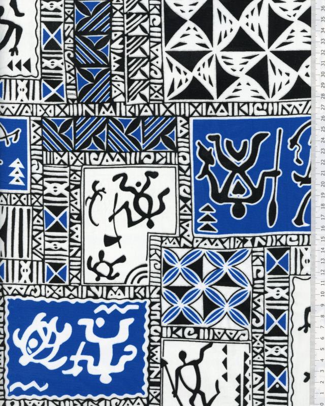Polynesian Fabric TITAUA Turquoise Blue - Tissushop