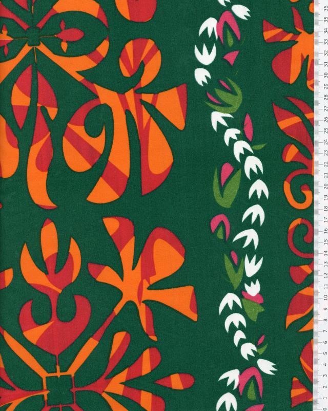 Tissu Polynésien URANUI Vert - Tissushop