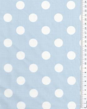 Polycotton Large white dots / Light Blue - Tissushop