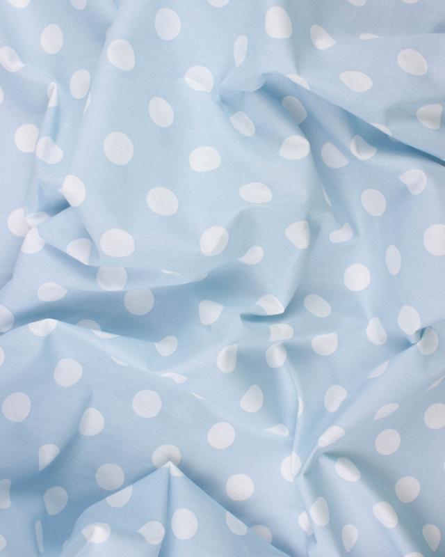 Polycotton Large white dots / Light Blue - Tissushop