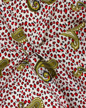 Polycotton printed with leopard pattern Red - Tissushop