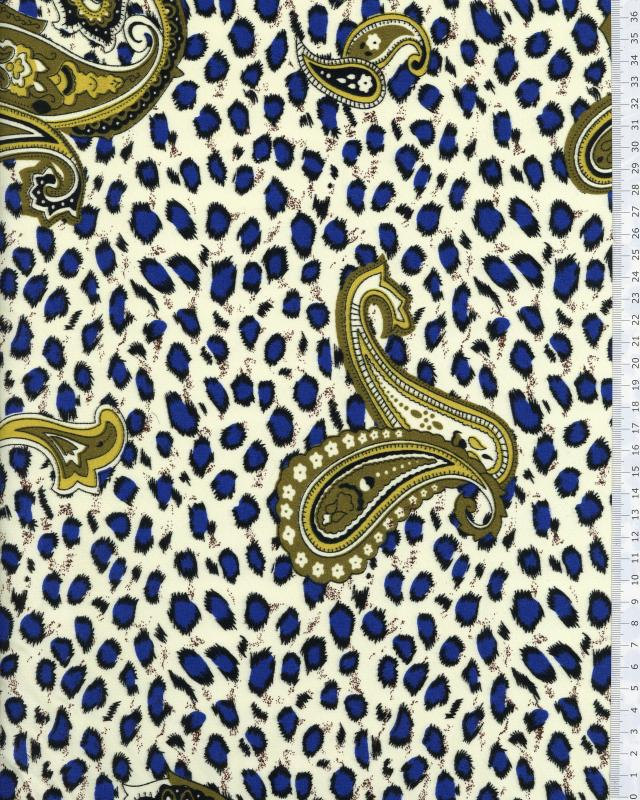 Polycotton printed with leopard pattern Blue - Tissushop