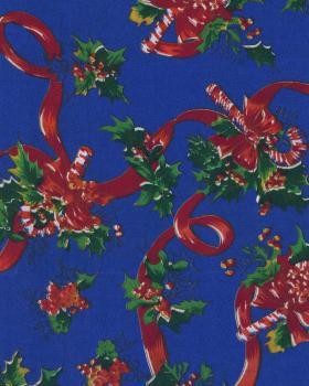 Tissu Noel imprimé sucre d'Orge Bleu - Tissushop