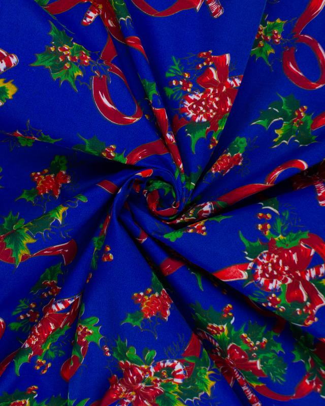 Christmas printed fabric Candy Cane Blue - Tissushop