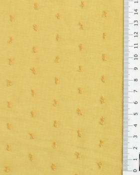 Voile de coton plumetis Moutarde - Tissushop