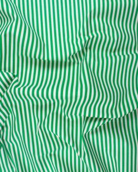Coton Blanc à Rayures Vert - Tissushop