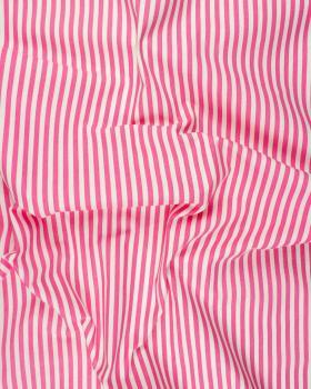 Coton Blanc à Rayures Rose - Tissushop