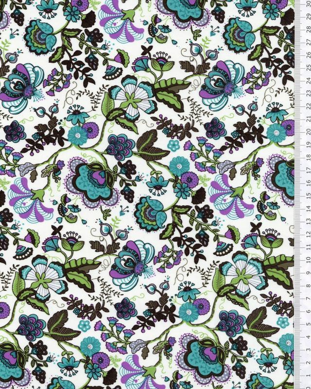Coton imprimé Juliette Bleu Turquoise - Tissushop