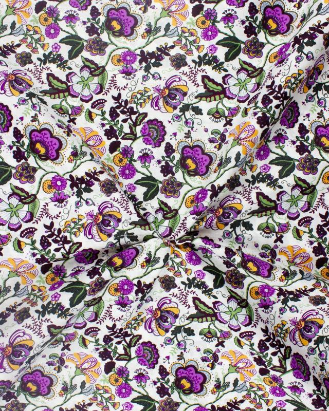 Coton imprimé Juliette Violet - Tissushop