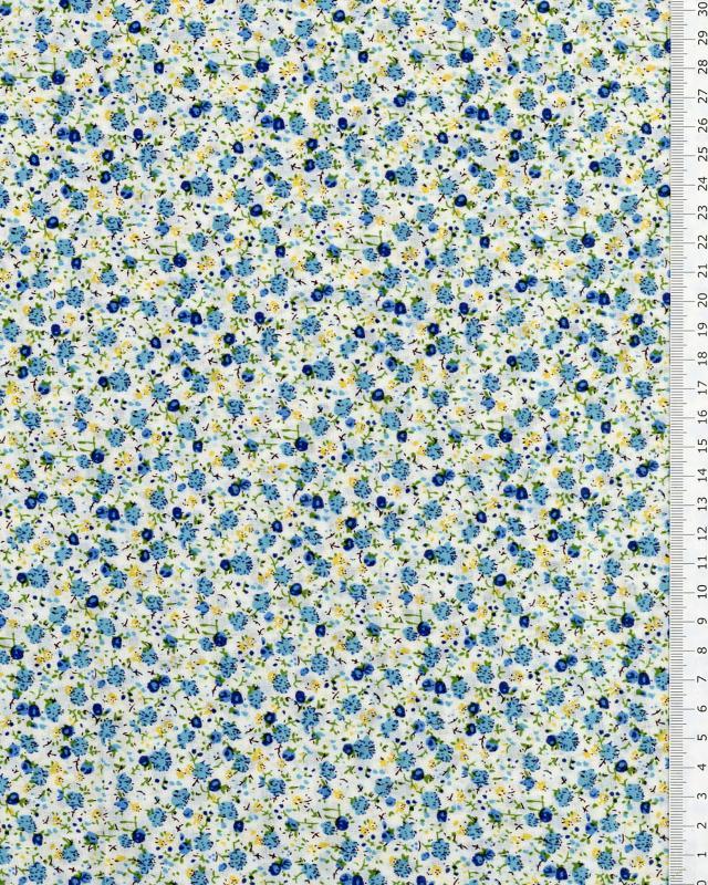 Coton imprimé Elisa Bleu - Tissushop