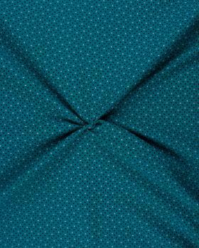 Popeline de Coton imprimée Grain de Riz Bleu Turquoise - Tissushop