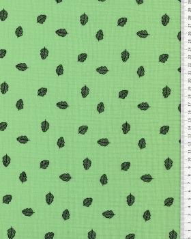 Muslin printed leaves Green - Tissushop