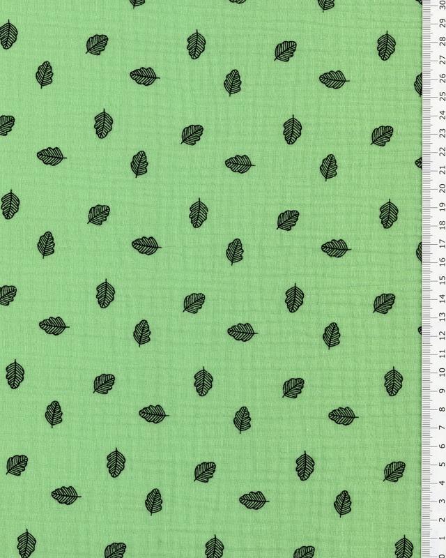 Muslin printed leaves Green - Tissushop