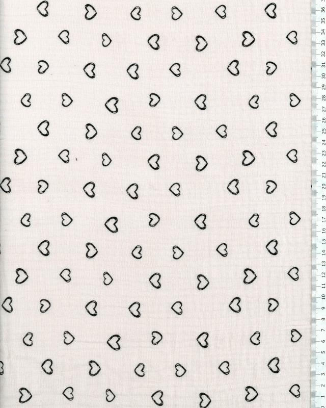 Muslin printed little hearts Pink - Tissushop