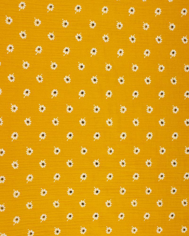 Double gaze imprimé marguerites Moutarde - Tissushop