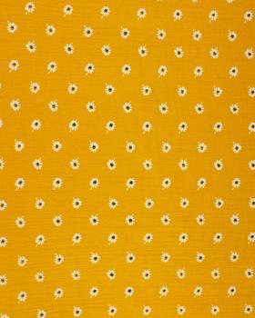 Muslin printed daisies Mustard - Tissushop