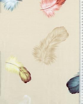 Cotton Popelin Printed Feather pattern Beige - Tissushop