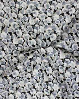 Cotton Poplin Flowers Black and Grey - Tissushop
