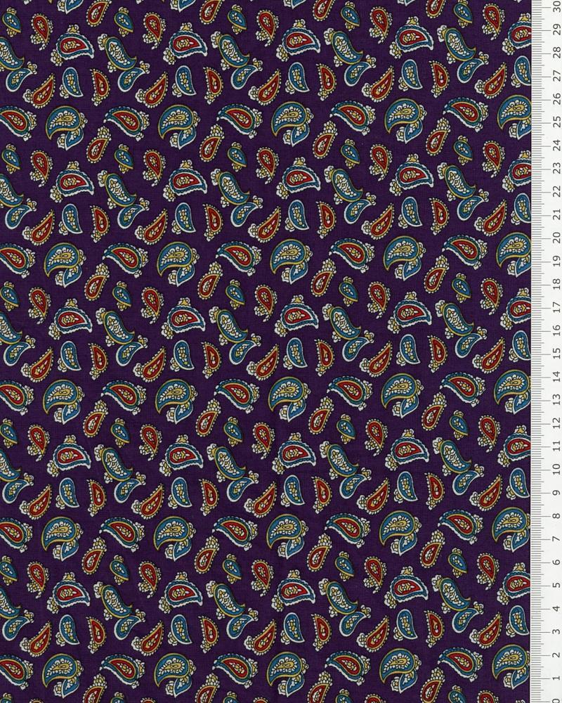 Popeline de coton Cachemire Violet - Tissushop