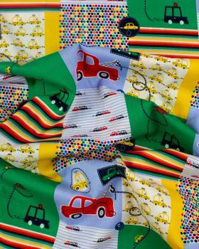 Popeline de coton Patchwork Voitures Multicolore - Tissushop